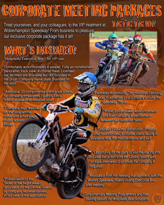 Wolverhampton Wolves Speedway: MARKETING / CORPORATE OPPORTUNITIES